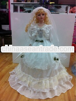 30 Inch Porcelain Umbrella White Dolls