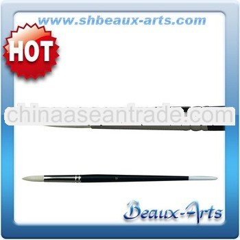 Art Material Suppliers/Round Bleached Bristle Oil Brushes/Long, Black Lacquered Handle With White Ti