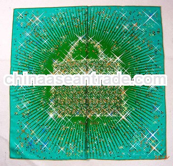 Fashion brand red lady bag pattern square green scarf