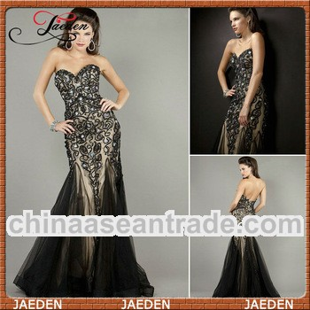 JE0269 Black Sexy Long Big Crystals Design Fishtail Evening Dresses