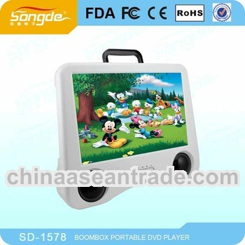 New design 15 inch Portable DVD Player with TV tuner USB SD reader