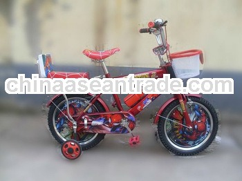 Red color with rear cusion spider man image basket high quality boy toy child bike,kid bike with the