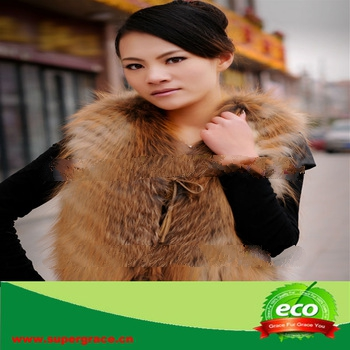 Superior Brown Women Favourite Red Fox Vest With Skin Hide