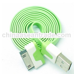high quality for iphone 4 usb cable flat noodle usb cable for iphone 4(OEM manufactory)