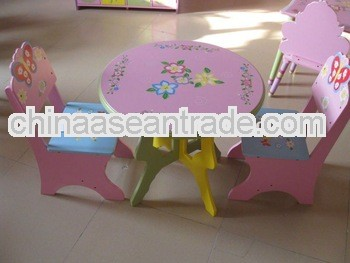 kids table and chair wooden furniture in pink