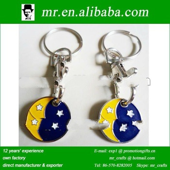 promotional moon and star enamel metal shopping jeton token coin holder keychain