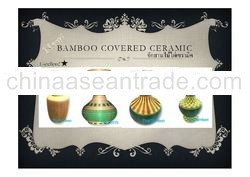 A Thai Authentic Bamboo Covered Ceramic 03, Thai Vase product, Made in Thailand, Handmade crafts Pro