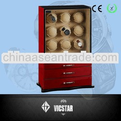 9 Motors Automatic Watch Winder w/ 3 Drawer