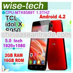 TCL idol X S950 mobile phone 5.0 Inch IPS MTK6589T Quad Core 1.5GHz 2GB ram 16GB rom 1920*1080 smart