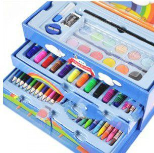 Cartoon stationery painting suitcase set paint brush watercolor pen loading combination Paint art su