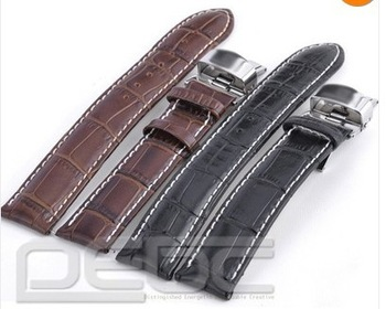 FREE SHIPPING New Durable Watch Strap Bands 18~24mm Genuine Leather Butterfly Deployant Clasp
