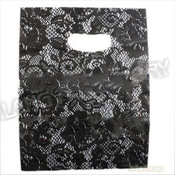 Fashion Black flower printed Plastic Useful Boutique Gift Bags 180pcs/lot Hotsale Carrier bags 25x22