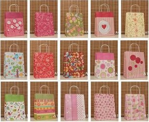 Free Shipping! 15 Styles 27*21*11 cm Paper Shopping Bags with Handles, Festival Gift Bags, Party Fav