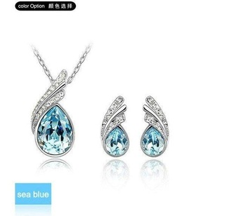Free Shipping White Gold Plated Necklace/Earrings, Make With Austria Elements,Crystal Set K189&R