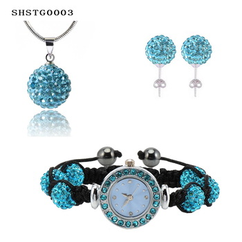 New Arrival Shamballa Set With Disco Balls Shamballa Bracelet Watch/Earring/Necklace Pendant Jewelry