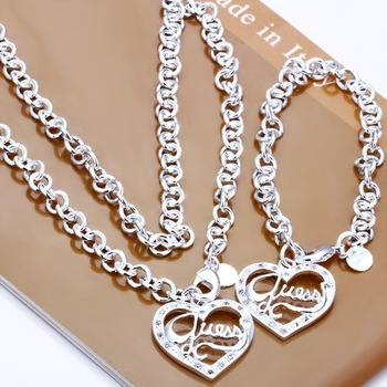 free shipping silver plated, copper Peach heart shaped pendants necklace and bracelet jewelry set fo