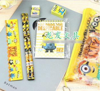 minion Students of cartoon stationery  bag 7 in 1 (zipper pen bag wooden pencil two cardboard ruler