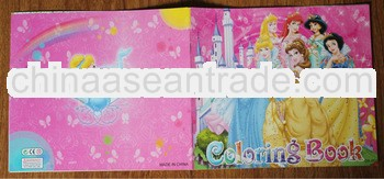 2013 Kids' Eco-friendly cartoon color filling book with stickers