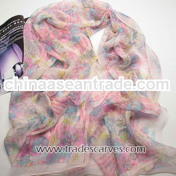 Beautiful pink lovely for girls silk georgette scarf