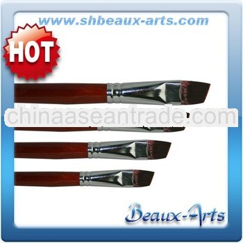 Brown Synthetic Angle Artist Brush with Short,red lacquered handle