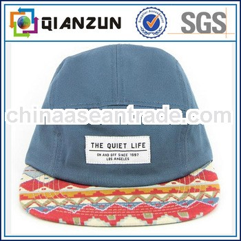 Custom brim 5 panel hats/high quality 5 panel hat/leather strap 5 panel hats