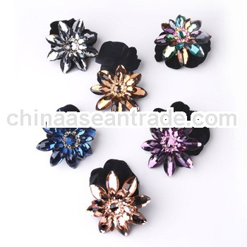 F04947 Women's Fine Hair Accessory: Acrylic Zircon Blink Star Floral Hair Ring/Band Elastic Pony