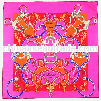 Fashion square printed lady twill silk ethnic scarf