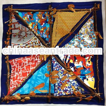 Fashion square triangle printed silk scarf dubai hijab