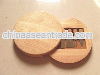 Hot selling 5pcs rubber wood cheese board set,Cheese board & knife set