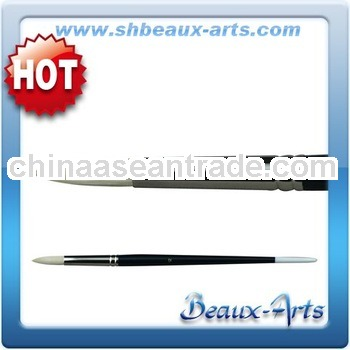 Round Bleached bristle Brush with Long, black lacquered handle with white tip