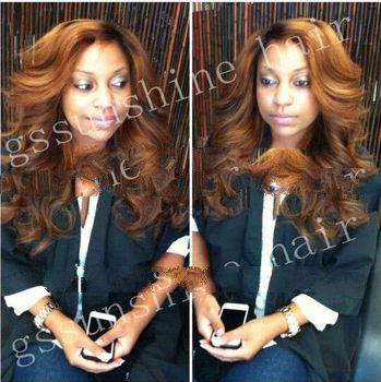 "Superior quality 18"" two tone ombre color 100% peruvian human hair full lace remi u part wigs f"