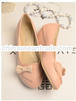 Top quality women low heel wedge shoes sweet heart pink shoes