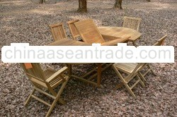 Oval Extending Table Set with Folding Chair
