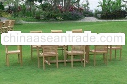 Antex Furniture sells teak rectangular table and Horizon Stacking Chair furniture set